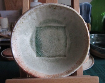 Small Dish with Impressed Design in Celadon Green