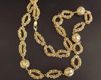 Vintage Necklace Gold Tone Opera Length Costume Jewelry Accessories Dressy 1960s