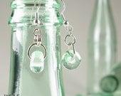 Recycled Glass Bottle Boho Drop Earrings Beach Jewelry