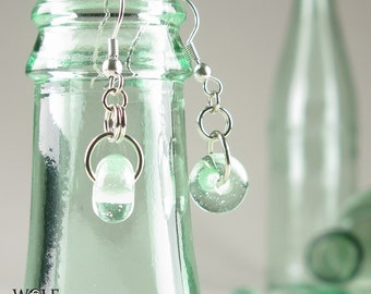 Recycled Glass Bottle Boho Drop Earrings Beach Jewelry