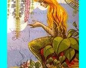 s462 Vintage FAIRY TALE  MERMAID Illustration Mermaid Fabric Block for Quilting.