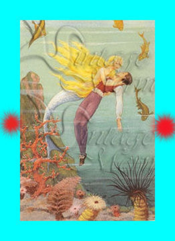 s129 QUILT FABRIC BLOCKS Mermaid & Prince Charming Postcard Cotton Applique for Quilting.