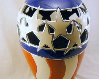 Americana Patriotic Ceramic Vase