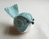 Embroidered Wool Felt Bird in Heathered Teal