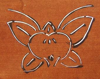 Vintage Japanese Stencil  Kamon Butterfly Stencil