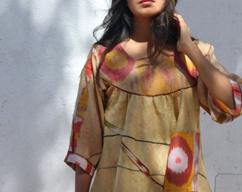 origami sculpted hand dyed mustard linen pullover with silk cotton ikat