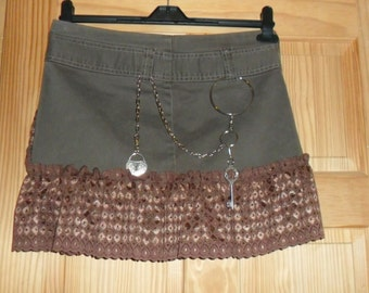 Hip Hugging Soft Brown Mini Bustle Steampunk Wench Skirt