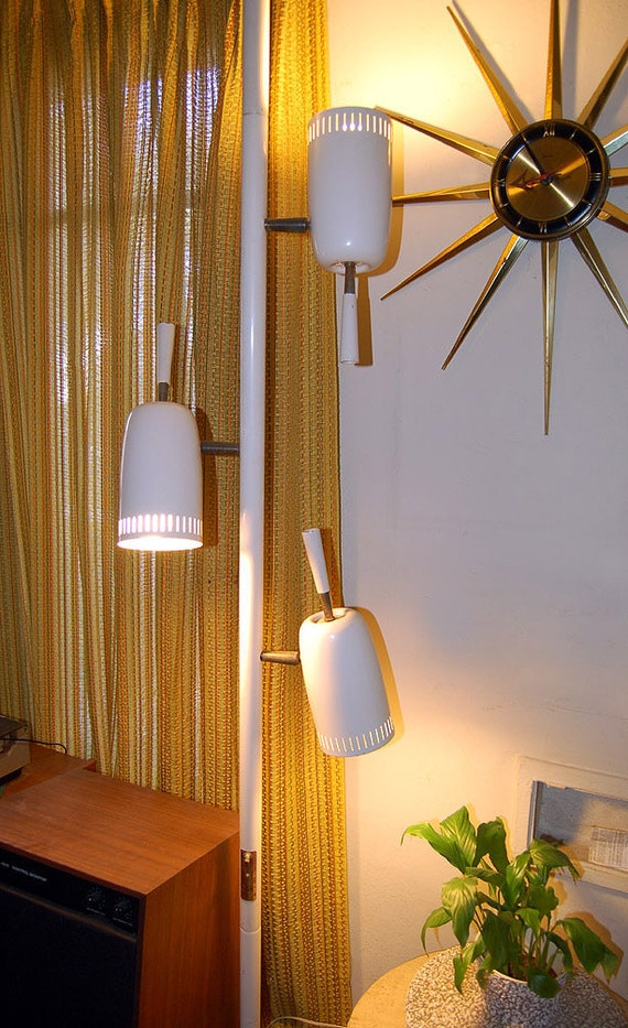1960s Stiffel Pole To Ceiling Tension 3 Way Floor Pole Lamp