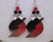 Portland Trail Blazers Earrings, Red Black and Silver Crystal Pro Basketball Bling Earrings, Basketball Accessory