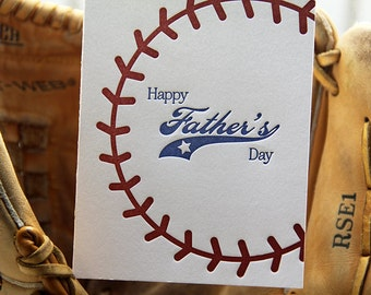 Letterpress Baseball Father's Day Card Sports Stitching | kiss and punch