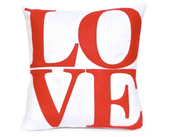 LOVE Throw Pillow Cover Appliquéd in Red on Pure White Eco-Felt 18 inches