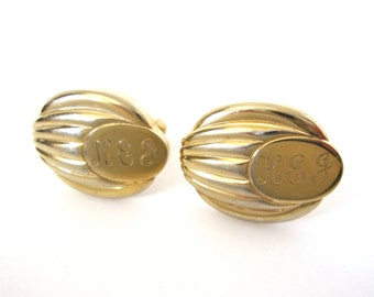 Vintage KEJ Monogram Cufflinks, Goldtone Cuff Links by Anson
