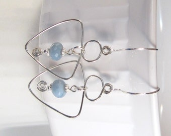Blue African Opal, Handmade, Unique, Sterling Silver Wire Wrapped Artisan Earrings