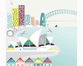 Sydney Print, Skyline Sydney Opera House Harbour Australian Paper Print, Poster, Illustration, Home, Office, Nursery, Gift for, baby