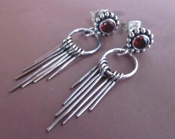Bali Handmade Silver Garnet Stud Earrings / silver / 1.50 inch long / Bali jewelry / Garnet Earrings / (#89m)