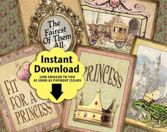 Princess Tags / Hang Tags / ACEO ATC - Printable Instant Download and Print Digital Sheet
