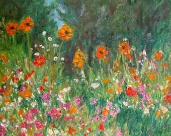 WILDFLOWER RUSH Art 10x8 Impressionist Flower Oil Painting by Award Winning Artist Kendall Kessler
