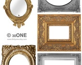 Large MIX Gold and Silver Victorian Frames - A4 Digital Collage Sheet - For unlimited number of prints - Set2