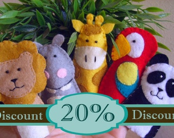 20 finger puppets party favor 20% discount