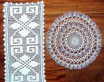 DOILY Pair CROCHETED LACE Cotton Crochet White Filet Net Mesh Runner 2 Doilies