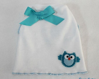 Little Blue Owl Dog Shirt Clothes Size XXXS through Medium by Doogie Couture