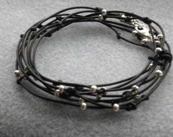 SALE  Everyday Black Leather and Silver Bracelet