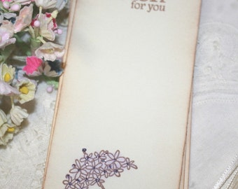 Baby Shower Wish Tree Tags - Umbrella with Purple Flowers - My Wish for You - Set of 12