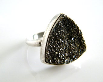 Sparkly Silver Druzy Ring Trillion Cut Sterling SIlver