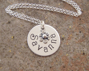 Flower girl necklace - Personalized Name Necklace - Flower girl gift - Sterling silver name jewelry - Photo NOT actual size