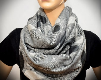 Free US Shipping - Silver Gray Paisley scarf - Infinity scarf
