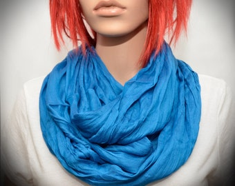 Blue Silk scarf - Infinity scarf