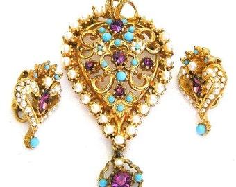 Czech Style Amethyst Aqua and Pearl Pendant Brooch Clip Earrings Set