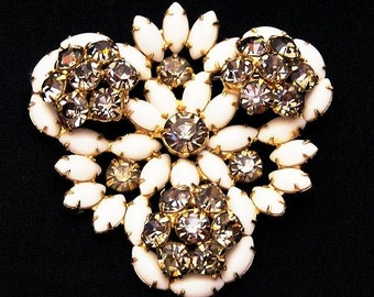 Milk Glass and Gray Rhinestone Brooch