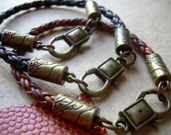 Mens Leather Bracelet , Antique Bronze, Lobster  Clasp, Mens Bracelet, Mens Jewelry