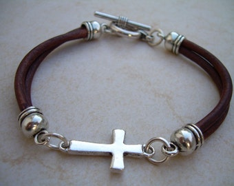 Leather Bracelet, Cross Bracelet, Cross, Religious Gift, Mens Bracelet, Mens Jewelry, Womens Bracelet, Womens Jewelry