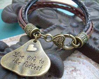 Charm Bracelet, Womens Leather Bracelet, Womens Jewelry, Womens Bracelet, Leather Bracelet, Five Strand, Metallic Bronze, Black,