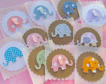 Baby Elephant Envelope Stickers - Baby Shower Stickers - Baby Elephant Envelope Seals - Kraft Card stock Baby Elephant Stickers - BESL