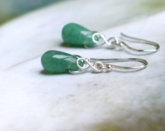 Jade Drop Earrings | Green Jade Smooth Teardrops | Sterling Silver | 14k Gold Filled | Argentium Silver | Petite Dangles | Spring Earrings