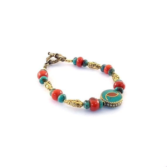 Turquoise Coral Bracelet Antique Gold Tibetan Turquoise, Red Coral
