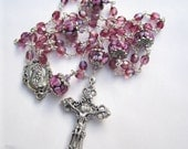 Rosary - Iridescent pink crystal - The Virgin Mary Rosary Center - 5 Decade