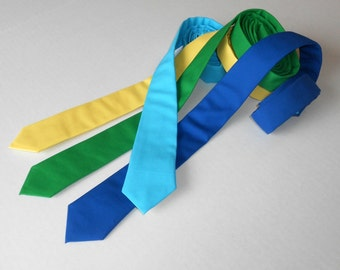 Royal Blue, Kelly Green, Buttercup Yellow, or Tiffany Blue Skinny Tie - Men's, Teen, Youth           2 weeks before shipping