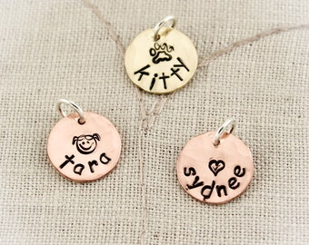 Copper or Brass Personalized Hand Stamped Charms