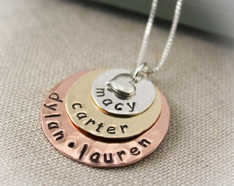 Mixed Metal Personalized Necklace, 3 Discs, Sterling Silver, Brass, & Copper, Mother's Necklace