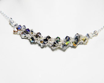 "Swarovski Crystal Necklace Limited Edition Colors Metallic Silver -  ""Typhon III"""