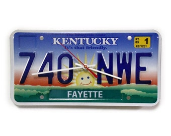 Kentucky Clock - Fayette County License Plate Wall Clock - Lexington KY License Tag Clock