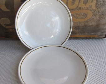 Vintage White Pyroceram with Olive Green Band Corning Bread and Butter Plates set of 2