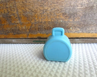Vintage Fisher Price Little People Blue Suitcase Hatbox