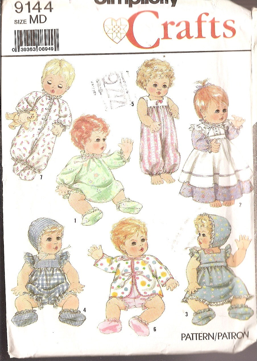 vintage baby doll clothes sewing pattern by nancesnostalgia