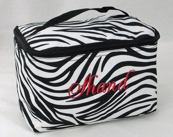 Personalized Cosmetic Case Black and White Zebra Print