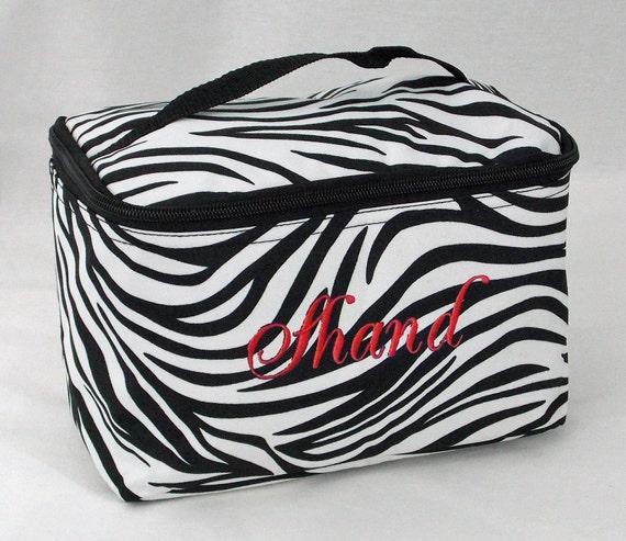 Personalized Cosmetic Case Black and White Zebra Print